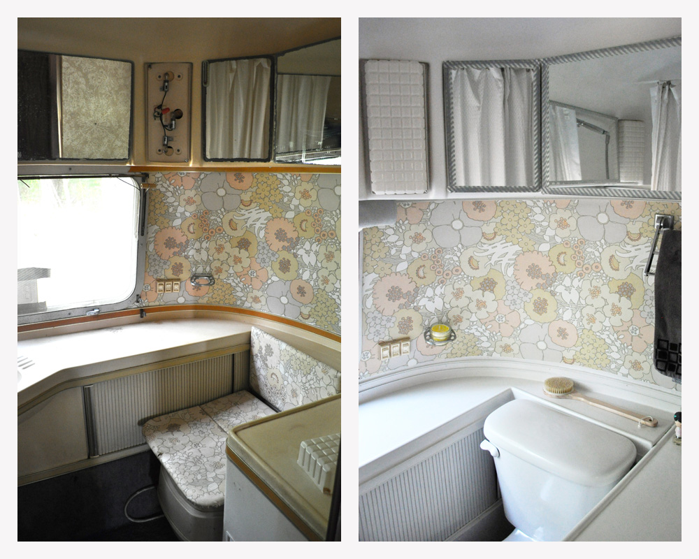 1978 airstream sovereign land yacht remodel a small life for Bathroom renovation before and after